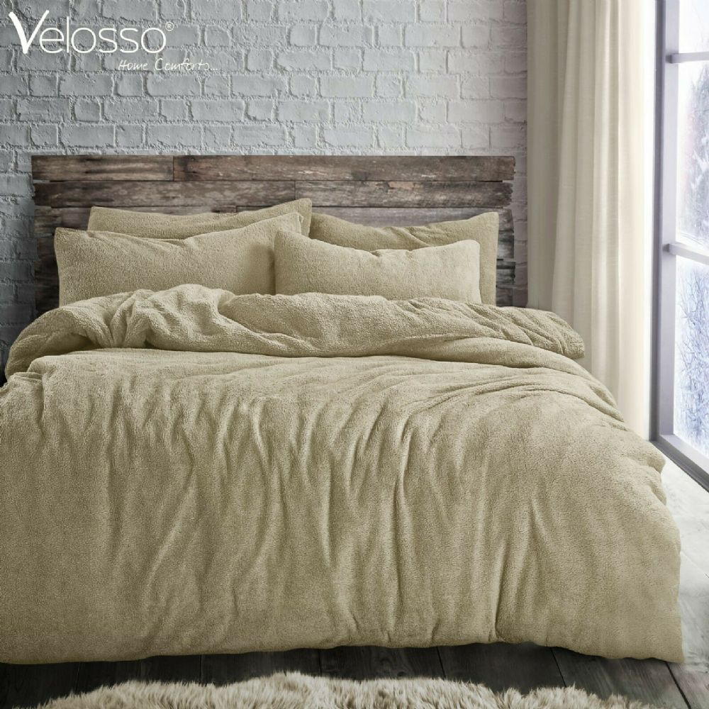 TEDDY BEAR FLEECE SOFT LUXURY DUVET COVER SET THERMAL WARM COSY BEDDING TAUPE NATURAL